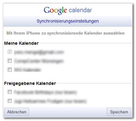 freigegebenen google kalender einbinden