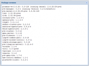 Proxmox 3.2 auf der APU - die Paketversionen